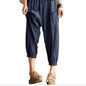 Buykud Blue Lantern Linen Harem Pants